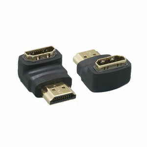 90 Degree HDMI Male to HDMI Female Adapter Black - Click to enlarge