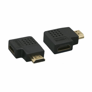 Vertical Flat 90 Degree HDMI Male to Female Adapter Black - Click to enlarge