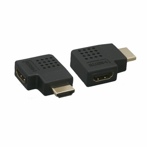 Vertical Flat 270 Degree HDMI Male to Female Adapter Black - Click to enlarge