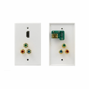 HDMI and 3 RCA RGB Component Video White Wall Plate - Click to enlarge