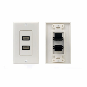 Dual Port 90 degree HDMI Premium 1.3 Wall Plate White - Click to enlarge