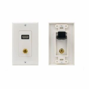 Single Port 90 degree HDMI Premium Wall Plate 1.3 1080P White - Click to enlarge