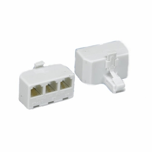 Brand New RJ11 Modular T-Adaptor White 6P/4C, Male to 3 Female, 1:1 (White) - Click to enlarge