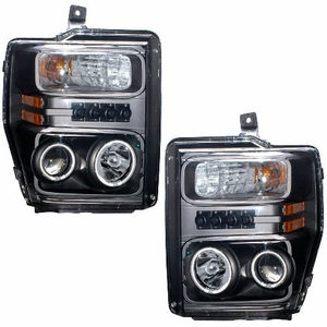 Ford F-250/Super Duty 08 Up Projector Head Light Halo W/O Ccfl Bar  Black Clear Amber(CCFL) - Click to enlarge