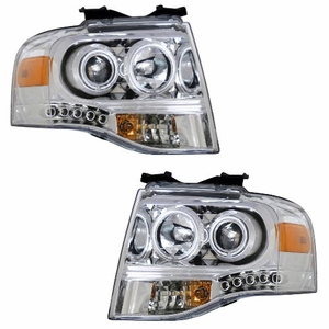 Ford Expedition 07-08 Projctor Head Light Chrome Clear Amber - Click to enlarge