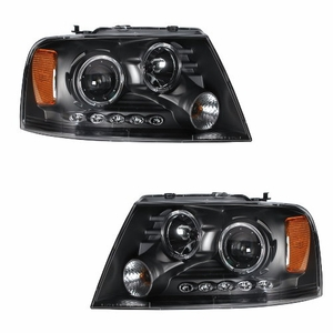 Ford F-150 04-08 Projector Head Light 2 Halo L.E.D Black Clear Amber - Click to enlarge