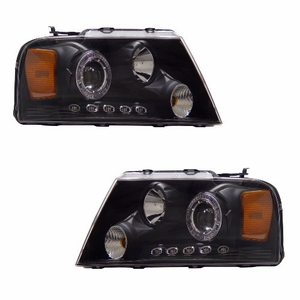 Ford F-150 04-08 Projector Head Light Halo L.E.D Black Clear Amber - Click to enlarge