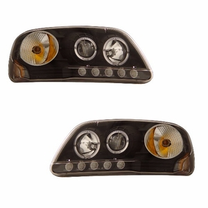Ford F-150 97-03 1 Pc Projector Head Light Halo L.E.D Black Clear Amber - Click to enlarge