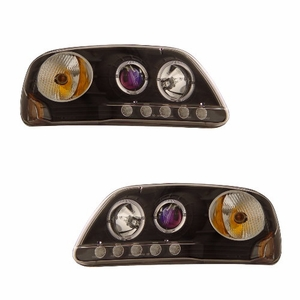 Ford F-150 97-03 1 Pc Projector Head Light Halo L.E.D Black Clear Amber(CCFL) - Click to enlarge
