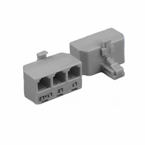 Brand New RJ11 Modular T-Adaptor 6P/4C Male to 3 Female, Line 1/Line 2/Line 1 + Line 2 (Gray) - Click to enlarge