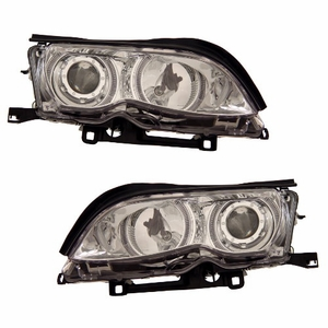 Bmw 3 Series E46 02-05 4 Door Projector Head Light Halo Chrome Clear - Click to enlarge