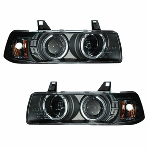 Bmw 3 Series E36 92-98 4 Door 1 Pc Projector Head Light G2 Halo Black Clear Amber - Click to enlarge