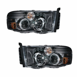 Dodge Ram 02-05 Projector Head Light G2 W/O Ccfl Bar Halo Black Clear Amber - Click to enlarge