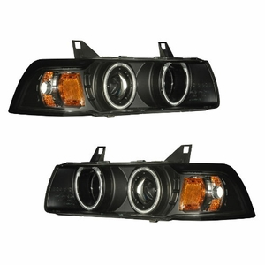 Bmw 3 Series E36 92-98 2 Door 1 Pc Projector Head Light G2 Halo Black Clear Amber (CCFL) - Click to enlarge