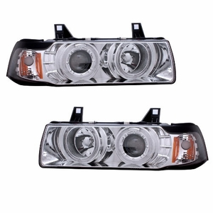 Bmw 3 Series E36 92-98 4 Door 1 Pc Projector Head Light G2 Halo Chrome Clear Amber - Click to enlarge