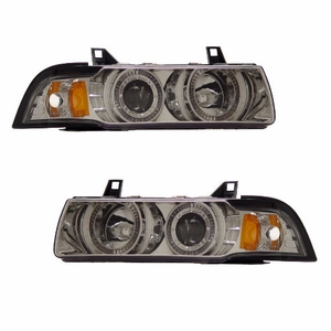 Bmw 3 Series E36 92-98 2 Door 1 Pc Projector Head Light G2 Halo Chrome Clear Amber - Click to enlarge