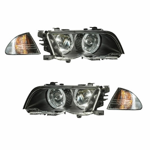 Bmw 3 Series E46 98-01 4 Door Projector Head Light. With Corner Light Halo Black Amber - Click to enlarge