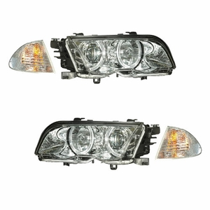 Bmw 3 Series E46 98-01 4 Door Projector Head Light. With Corner Light Halo Chrome Amber - Click to enlarge