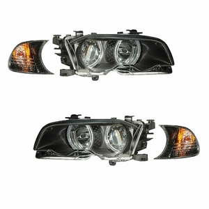 Bmw 3 Series E46 M3 99-01 2 Door Projector Head Light With Corner Light Halo Black Clear - Click to enlarge