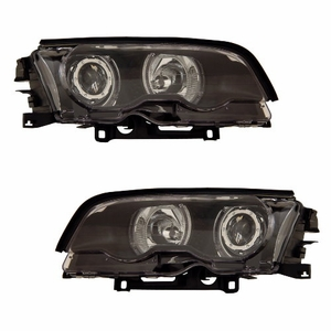 Bmw 3 Series E46 99-01 2 Door Projector Head Light Halo Black Clear - Click to enlarge