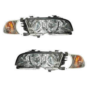 Bmw 3 Series E46 M3 99-01 2 Door Projector Head Light With Corner Light Halo Chrome Clear - Click to enlarge