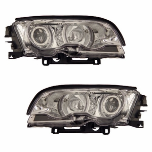 Bmw 3 Series E46 99-01 2 Door Projector Head Light Halo Chrome Clear - Click to enlarge