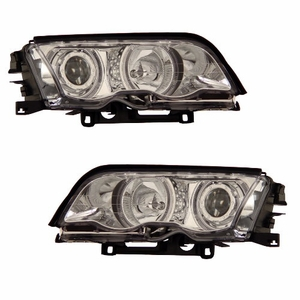 Bmw 3 Series E46 99-01 4 Door Projector Head Light Halo Chrome Clear - Click to enlarge