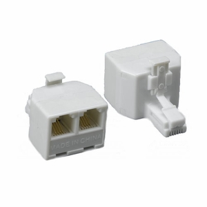 Brand New RJ11 Modular T-Adaptor 6P/4C, 1 male to 2 Female (White) - Click to enlarge