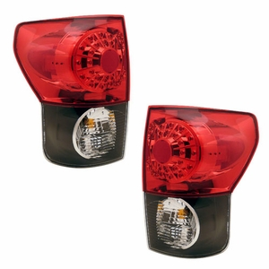 Toyota Tundra 07-08 L.E.D Tail Light Black Housing Red / Clear Lens - Click to enlarge