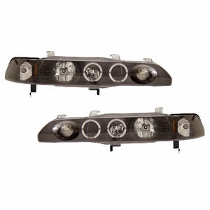 90-93 Acura Integra 1 PC Projector Head Light Halo Black Clear Amber - Click to enlarge