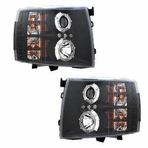Chevy Silverado 07-Up Projector Head Light Black Clear - Click to enlarge