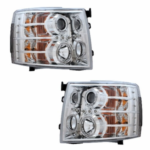 Chevy Silverado 07-Up Projector Head Light Chrome Clear - Click to enlarge