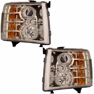 Chevy Silverado 07-Up Projector Head Light Chrome Clear (CCFL) - Click to enlarge