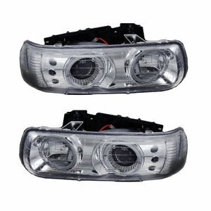 Chevy Silverado 99-02 Projector Head Light Halo Chrome Clear With Led - Click to enlarge