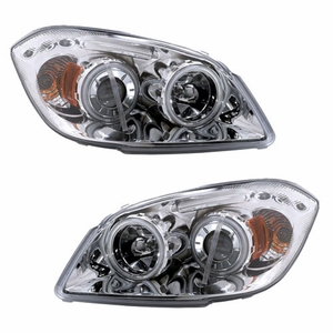 Chevy Cobalt 05-Up Projector Head Light Halo Bar Chrome Clear Amber (CCFL) - Click to enlarge
