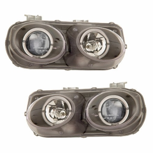 Acura Integra 98-01 Projector Head Light Halo Black Clear - Click to enlarge