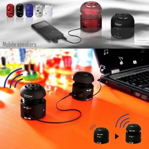 Go Rock Dual Mono Mini Portable Rechargeable Speaker with Retractable Cable - Click to enlarge