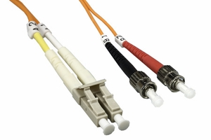 1m LC to ST Duplex 2 Strand Multi Mode Cable - Click to enlarge