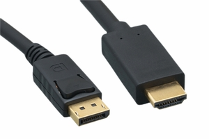 3 Feet 28 AWG Display Port Cable to HDMI Cable - Click to enlarge