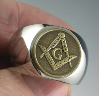 Historical Square and Compass Antique Brz * TITANIUM * Ring MM-174T