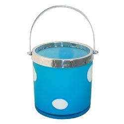 Blue with White Dots Glass Ice Bucket