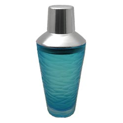Blue Etched Glass Martini Shaker