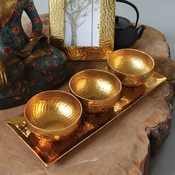 Gold Glass Bowls w/ Tray