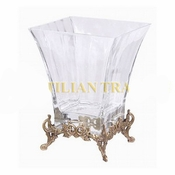 Glass Compote w/ Brass Foot