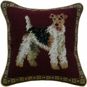 Wire Fox Terrier Needlepoint Pillow