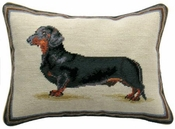 Dachshund Needlepoint Pillow