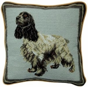 English Cocker Spaniel Needlepoint Pillow