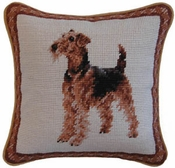 Airedale Needlepoint Pillow