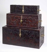 SET OF 3 WOODEN HANDCARVED BOXES