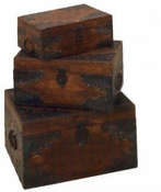 SET OF 2 WOODEN W/IRON RUSTIC NESTED BOXES